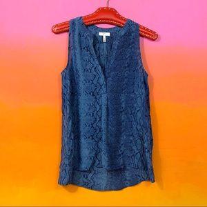 joie • blue snakeskin print silk aruna tank top xs
